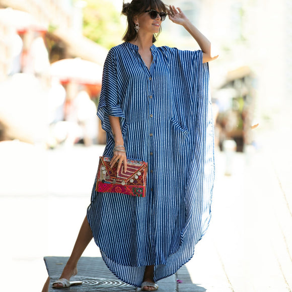 Tunic Summer Cover-ups Blue Bikini Dress