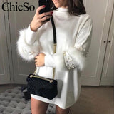 Sweater White Winter Sleeve Dress