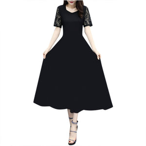 Long Ladies Lace Casual Solid Dress