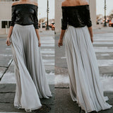 Long Pleated Party Maxi Casual Skirt