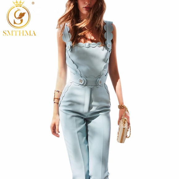 Button Scalloped Blue Clothes Summer Jumpsuit