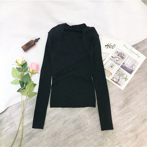 Nude Black Solid Casual Basic Top Square Neck Ribbed Knit Long Sleeve Tee Autumn Party Modern Lady Women Tshirt And Top B-104
