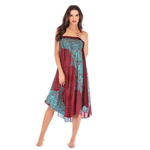 Hippie Beach Long Lace Elastic Dress