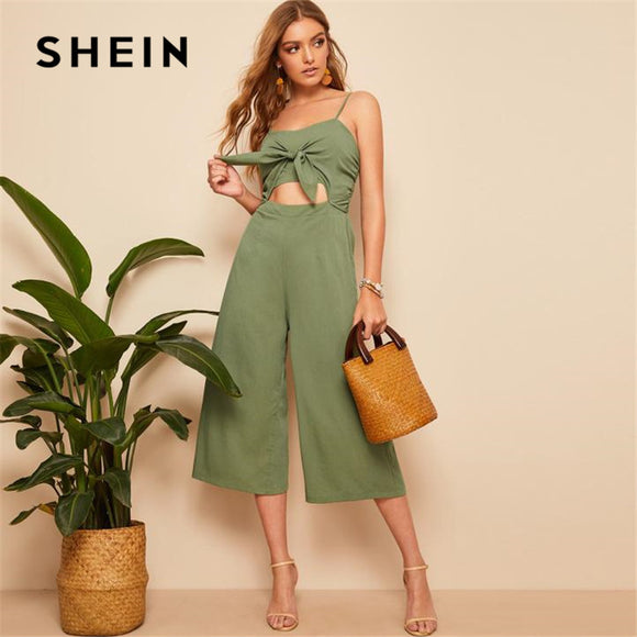 Boho Green Knotted Front Jumpsuit