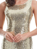 Sequined Party O-neck Backless Dress