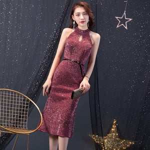 Short Evening Sequined Dress