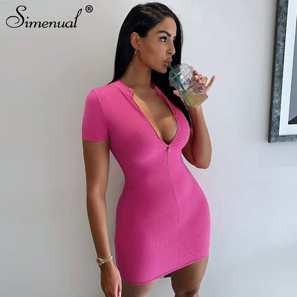 Solid Ribbed Mini Dress