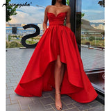 Prom Satin Sweetheart Red Dress