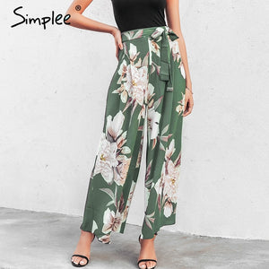 Summer Trousers Boho Elastic High Pants
