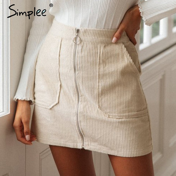 Zipper Office Straight Short Skirt