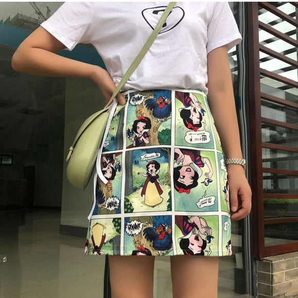 Waist Slim Design Summer Cartoon Skirt