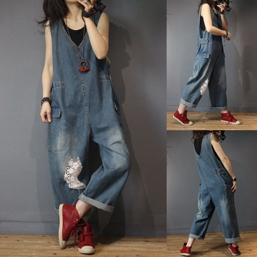 Casual Lace Denim Vintage Jeans