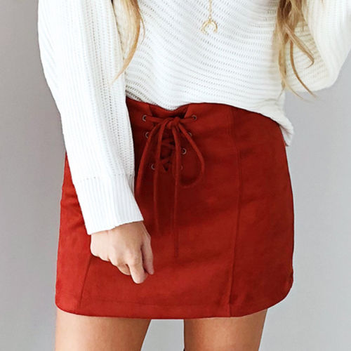 Outwear Pencil Lace Suede Skirt