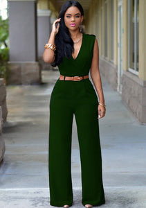 Jumpsuit Casual Sexy Belt VNeck Jumpsuit