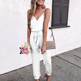 Belt Holiday Sling Solid Sexy Jumpsuit