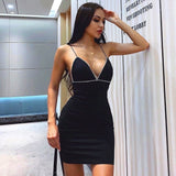 Sleeveless With Outfits Diamonds V-neck Dress