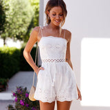 Short White Boho Overalls Tied Jumpsuit