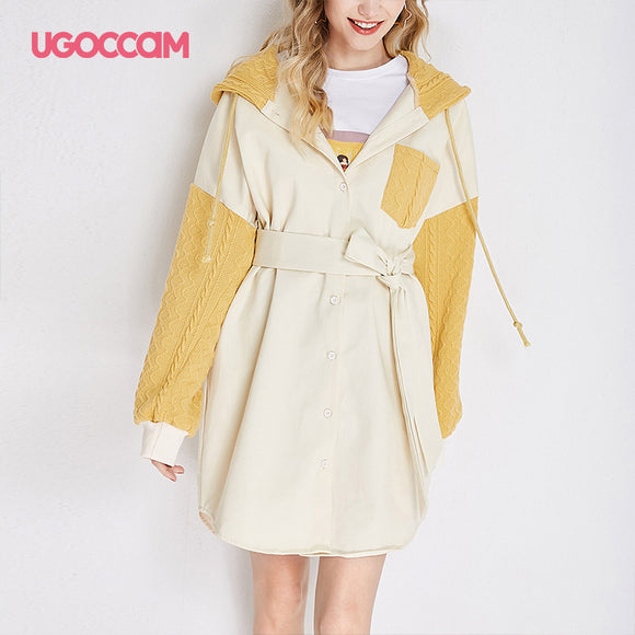 Waistband Knitted Windproof Trench