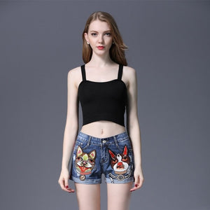 Vintage Waisted Short Crimping Blue Shorts