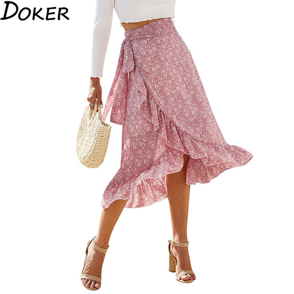 Summer Floral Print High Waist Pleated Skirt