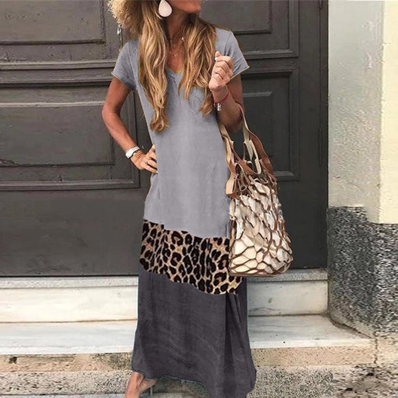 Summer ShortSleeve Loose Long Leopard Dress