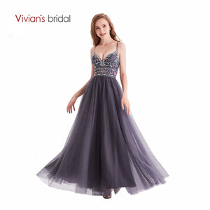 Vivian' Bridal Candy Color Manual Nail Pearl Prom Dress 2019 Sexy Spaghetti Strap Backless Ankle-length Fluffy Girl Party Dress