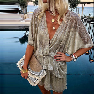 Sequined Sparkly Sleeve Wrap Sequin Dress