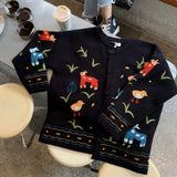 Animal Sweater Plus Coat Embroidery