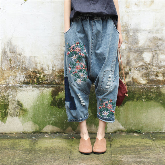 Harem Embroidered Jeans