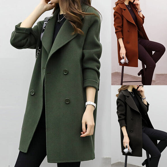 Turndown Collar Long Woolen Coat