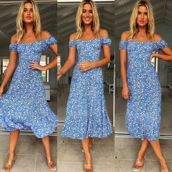 Off-Shoulder Maxi Floral Summer Dress