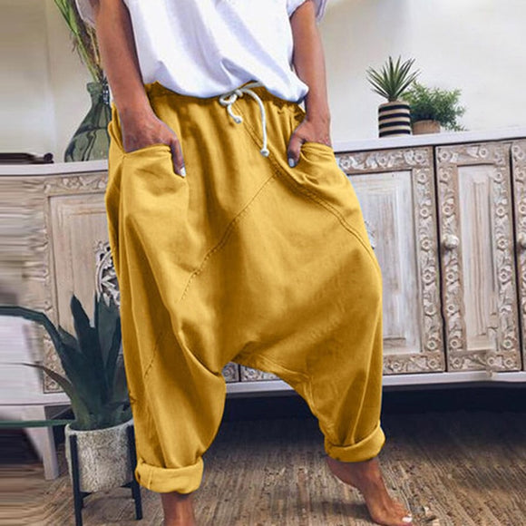 Capris Harem Wide Solid Leg Pants
