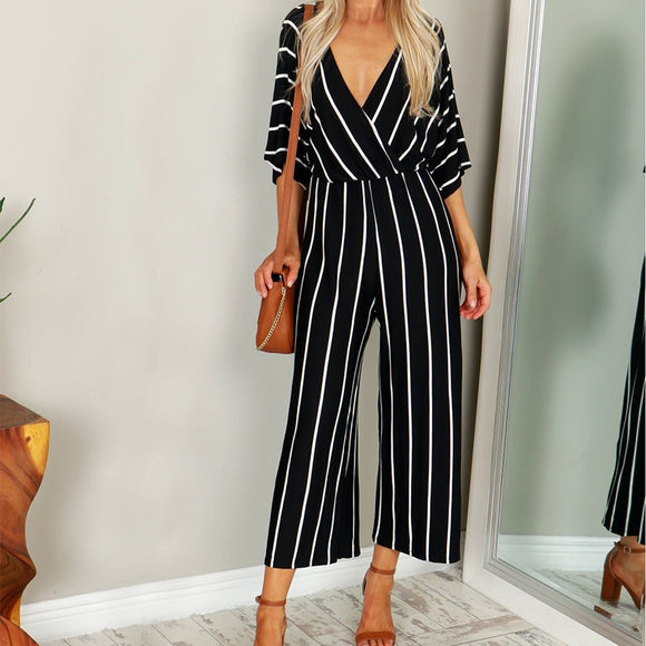 Linen Plus V-neck Striped Loose Jumpsuit