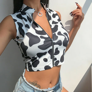 Casual Zipper Crop Top