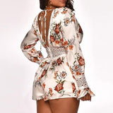 Summer Backless Outfits Print Romper