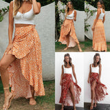 Sexy Floral High Waist Ruffled Long Skirt