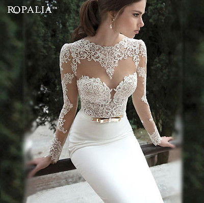 Lace Bodycon LongSleeve Ball Backless Dress