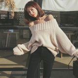 Pullover Sweater Knitted Off-Shoulder Oversized
