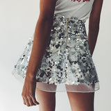 Zipper Black Sequin Beach Skirt