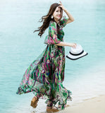 Floral  Long Sleeve Half Flare Dress