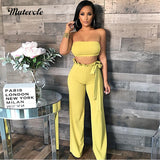 Sexy Two Piece Pants Set Strapless Crop Top and Pants