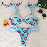 Floral Print Push Up Bikini