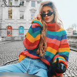 Rainbow Turtleneck Pullover