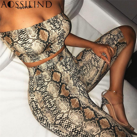 Snake Skin Print Strapless Sexy Two Piece Playsuit
