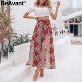 Floral Print Boho Casual Pants High