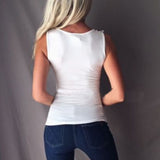 Tank White Feminina Patchwork Casual Top