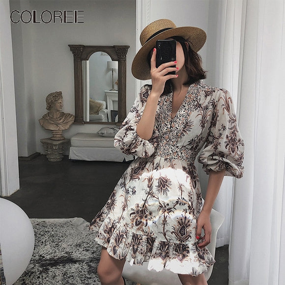 Vintage  Lantern Sleeve Floral  Dress