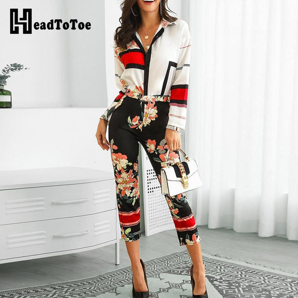 Floral Print Turn-Down Neck Long Sleeve Jumpsuit