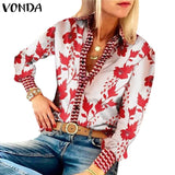 White and Red Floral Print Blouse