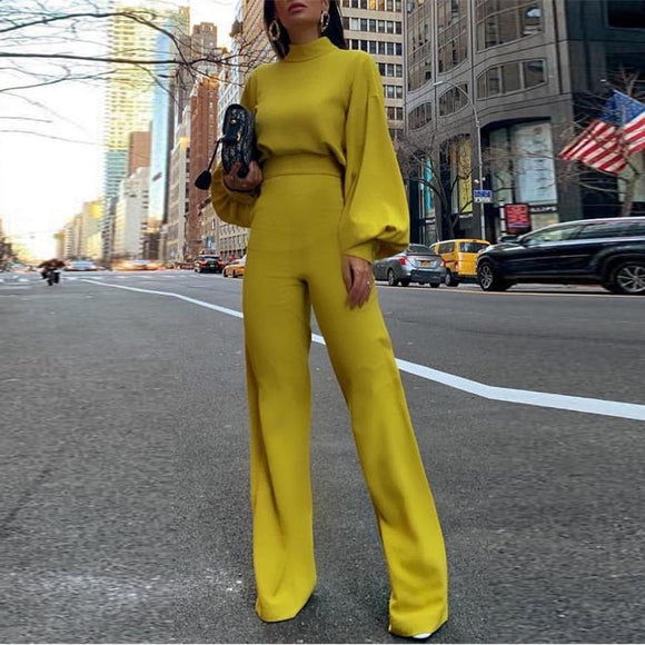 Wide Leg Yellow Jumpsuit